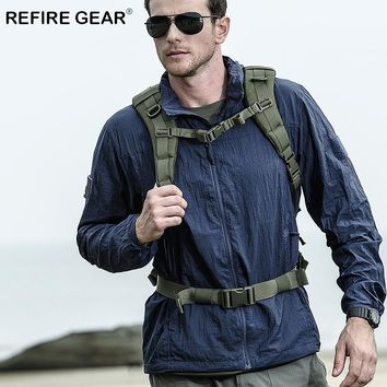 ReFire Gear Summer Outdoor Waterproof Tactical Jackets Men Sun Protective Military Skin Jackets Male Camping Hiking Army Jackets