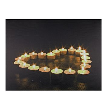 "LED Lighted Flickering Heart-Shaped Candles Canvas Wall Art 11.75"" x 15.75"""
