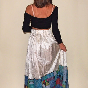 Vintage White Silk Maxi Skirt Hand Painted Stripes and Geometric Squares Circles and Triangles, Small Medium High Waist Summer Maxi