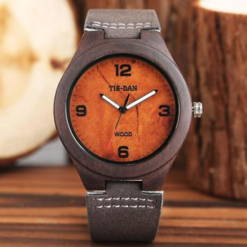 Vintage TIEDAN 100% Natural Wood Watch Handmade Bamboo Wooden Wrist Watch Men's Clock with Genuine Leather Relogio Masculino TOP