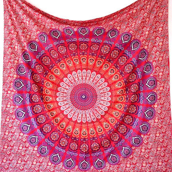 PINK RED Wall Mandala Tapestry Boho Wall Hanging Fabric Throw Hippie Bohemian Bedding Bedspread Home Decor Art - FabricSarmaya