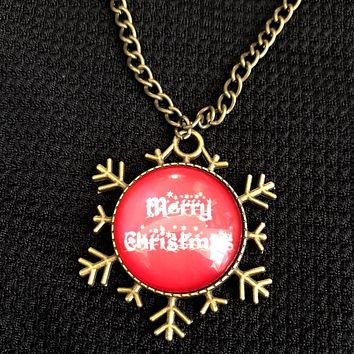 Merry Christmas Snowflake Cabochon Pendant Necklace