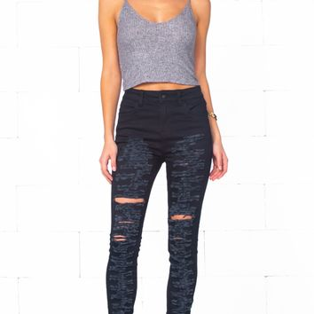 Indie XO Rock On Black Destroyed Ripped High Waisted Stretchy Skinny Pencil Jeans Denim Pant - Just Ours!