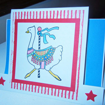 Carousel Card Merry-Go-Round Card: Goose Card, Handmade for Any Occasion - Includes White Envelope for Mailing