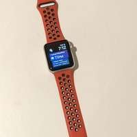 LMFGQ6 Apple Watch Series 3 Silver Aluminum 42mm GPS With Red/Black Watch Band