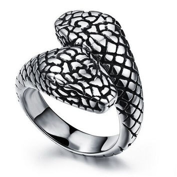 New Fashion Hot sell A two-headed snake Nightclub personality Domineering character Rock goth band Punk Ring