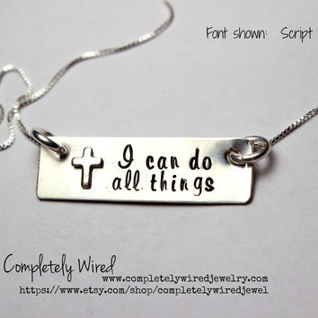 "Philippians 4:13 - ""I can do all things"" Sterling Silver Rectangle Charm Necklace with silver cross  - cross necklace"