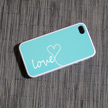 Tiffany Blue and White Love Rubber Silicone Custom iPhone Case Fits 4 And 4s Black Or White - unique iphone cases, french, vintage, antique