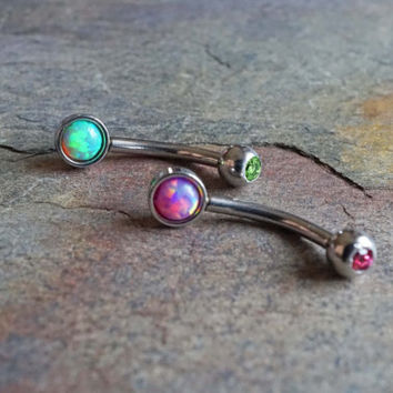 Rook Earring Daith Piercing Fire Opal Eyebrow Ring Green Pink