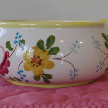 Vintage Hand Painted Ceramic Pot- Pretty Floral Serving Dish- FTD Planter Centerpiece- Portuguese Folk Art- Retro 1970s Flower Vase