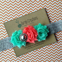 Mint & Coral Lace Headband Gray Pearl Infant Newborn Headband Photo Prop