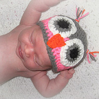 Gray and Pink or Blue Owl Hat sized for Newborn 0-3, 3-6, months. Owl Always Love You