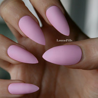 Pink stiletto nails! Matt or glossy. Set of 20 hand painted nails