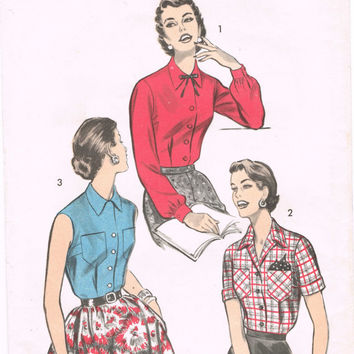 Advance 7921 - Vintage 1950s Sewing Pattern - Misses' And Womens' Blouse