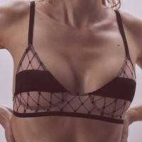 Burlesque Fishnet Triangle Bra – For Love & Lemons