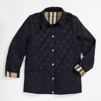 Girl's Burberry 'Mini Pirmont' Quilted Jacket,