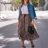 Yojoceli 2018 autumn winter leopard skirt women sexy trendy pleated skirt streetwear midi print skirt bottom