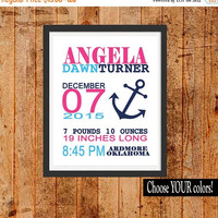ON SALE NAUTICAL Birth Announcement, Girl Anchor Decor,  Girl Nursery Decor, Modern Wall Art, Canvas or Prints Baby Shower Gift