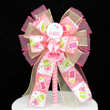 It's a Girl Baby Shower Bow Cake Topper