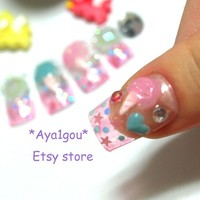 Fairy kei, Japanese, 3D nails, deco nail art, Wataame, pastel colored cotton candy nails