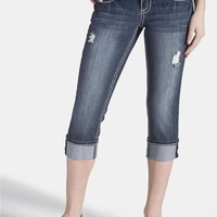 Denim Flex Destructed Dark Wash Capri - Dark Sandblast