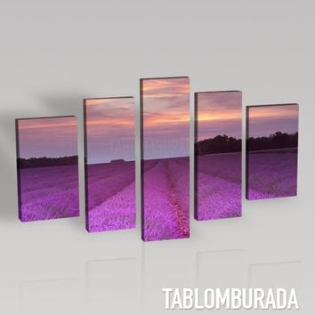 CANVAS WALL ART  - Lavender Field Landscape Photo Print on Canvas + Canvas Art Printing + 5 Panel + Ready to Hang