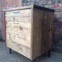Reclaimed Industrial Chic Reclaimed Timber 4 Drawer Chest. Shop Bar cafe Restaurant Tables Steel and Wood Metal Hand Made, Bedroom office