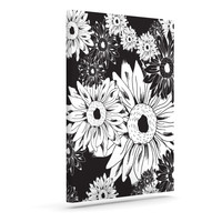 "Laura Escalante ""Midnight Florals"" Black Sunflower Outdoor Canvas Wall Art"