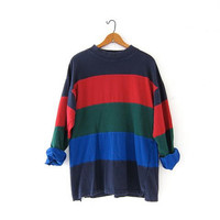 Vintage colorblock boyfriend shirt. Color block pullover shirt. Long sleeve striped shirt. Rugby shirt.