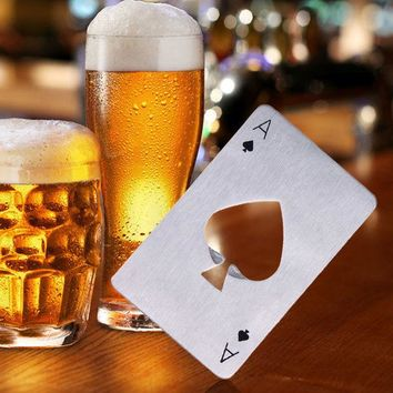 VONE2B5 Hot  Sale 1pc Stainless Steel Poker Playing Card Ace of Spades Bar Tool Soda Beer Bottle Cap Opener Gift Home Decor Compact