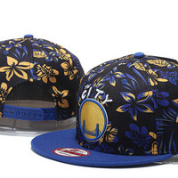 Golden State Warriors The City Logo New Era Black Yellow and Blue Flower Snap Back Hat