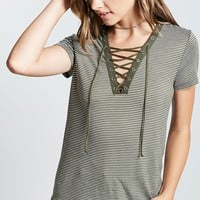 Striped Lace-Up Tee