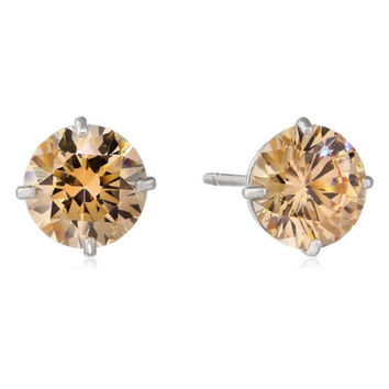 14k White Gold Round Champagne Crystal Diamond Stud Earrings