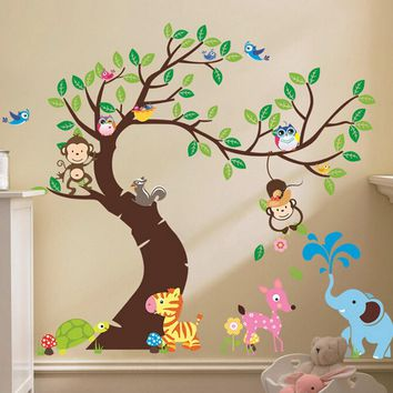 Cute monkey wall sticker Zoo original animal wall arts for kids room tree wall decal baby room home decoration diy Decor