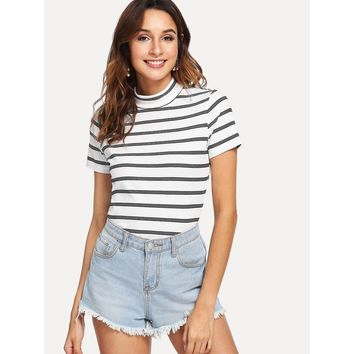 Black And White Mock Neck Striped Tee