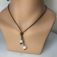 Leather and Pearls Necklace 2 Drop Pearls