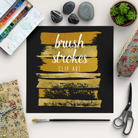 Brush Strokes Clip Art | Gold Graphic Elements | Gold Foil Digital Clipart | Goldy Splotches Overlay | BUY5FOR8