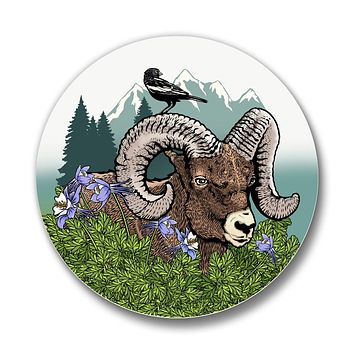 Rocky Mountain Bighorn Sheep Matte Button Pin
