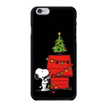 Snoopy And Christmas Tree - Black iPhone 6/6S Case