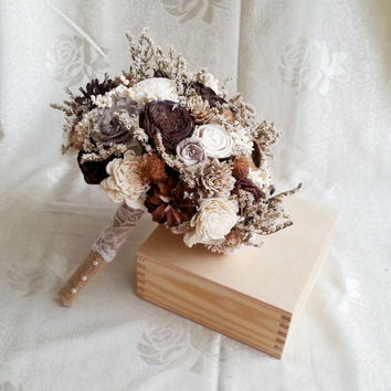 BIG cream ivory brown chocolate rustic autumn fall winter woodland wedding BOUQUET sola flowers limonium lotos pine cone berry Burlap Handle