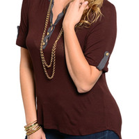 Brown Gray Plus Size Trendy Button Down Cuffed Sleeve Dressy Top