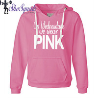 On-Wednesdays-We-Wear-Pink. Mean Girls Fleece Sweatshirt. Off Shoulder Sweatshirt. Vneck sweater. Breast Cancer Shirt. Breast Cancer sweater