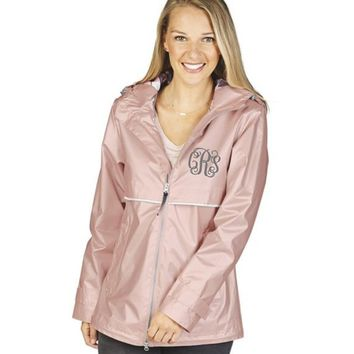 Monogrammed Rain Jacket, Rose Gold New Englander Rain Jacket, New Colors, Charles River Rain Jacket
