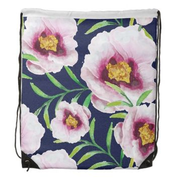 Sweet pink blue poppy vintage floral pattern drawstring bag
