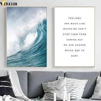 Sea Wave Landscape Motivational Quotes Wall Art Canvas Painting Nordic Posters And Prints Wall Pictures For Living Room Decor