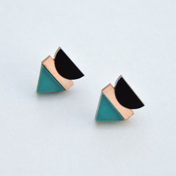 Balance Stud Earrings in Frosted Green by Nylon Sky