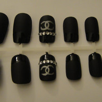 Chanel Matte Black French Tip Press-On Nails with Bling