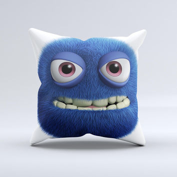 Angry Blue Fury Monster ink-Fuzed Decorative Throw Pillow