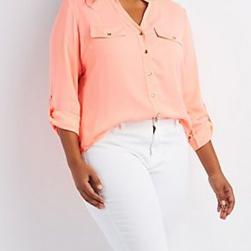 PLUS SIZE ROLL TAB BUTTON-UP SHIRT
