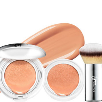 IT Cosmetics Supersize CC Veil SPF 50 Foundation Cushion w/Brush — QVC.com